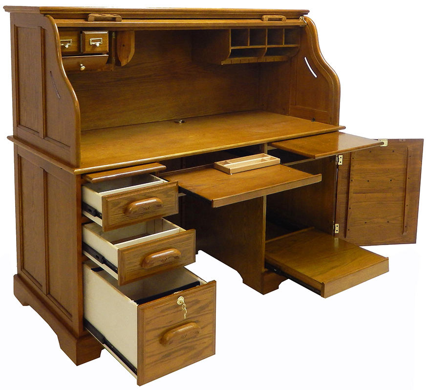 oak roll top computer desk in stock. Black Bedroom Furniture Sets. Home Design Ideas
