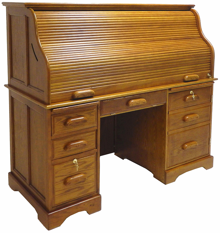 59w Oak Roll Top Computer Desk In Stock