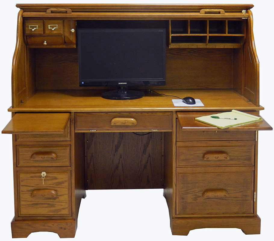 59 w oak roll top computer desk in stock. Black Bedroom Furniture Sets. Home Design Ideas