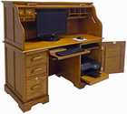 "59""W Oak Roll Top Computer Desk - In Stock!"
