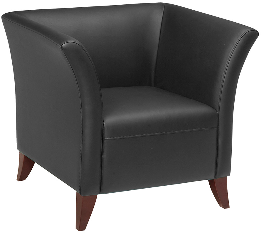 Office Star SL15 Series Black Faux Leather Club Chair