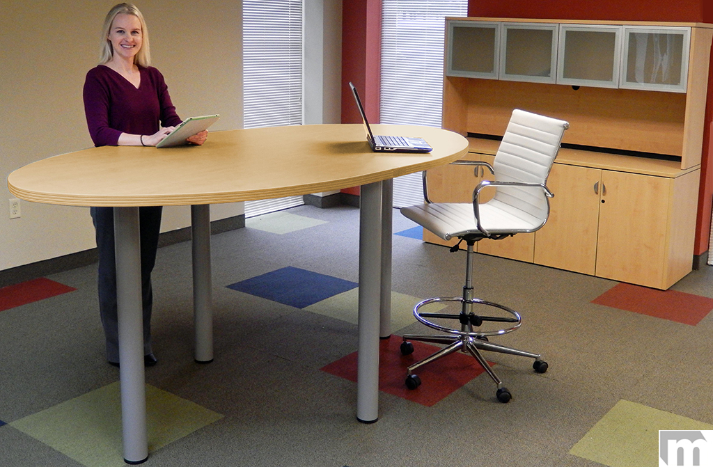 Oval Standing Height Conference Tables In Colors Length See - Desk with meeting table