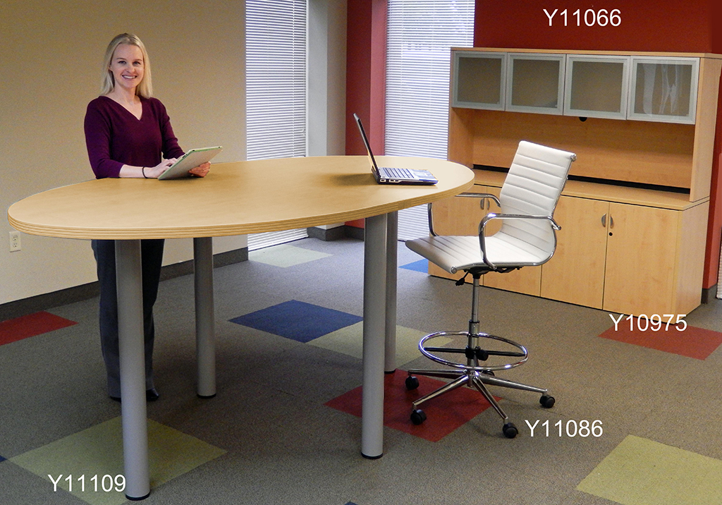 Superieur Oval Standing Height Conference Tables In 5 Colors   8u0027 Length  See Other  Sizes