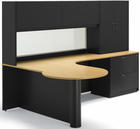 Overlook Custom Peninsula L-Desk w/Translucent Hutch, Right Return