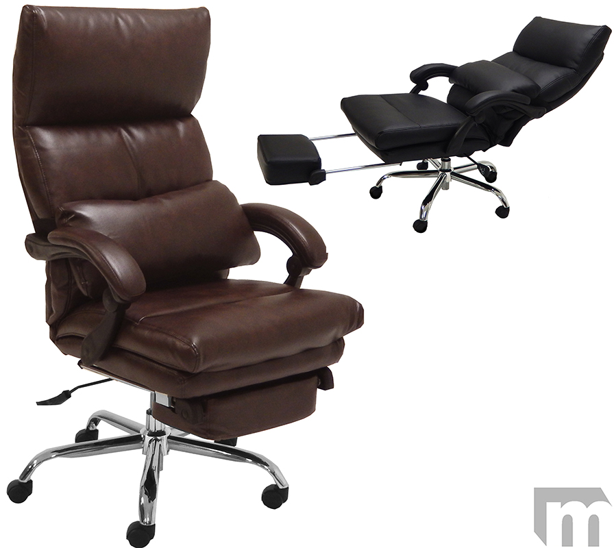 pillow top leather office recliner w footrest. Black Bedroom Furniture Sets. Home Design Ideas