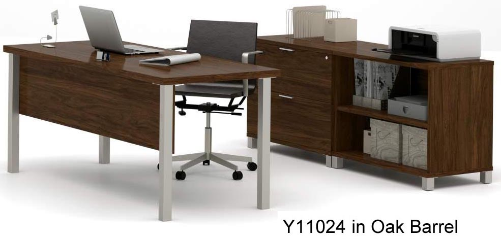 linear metal leg modular office desk series – executive desk set