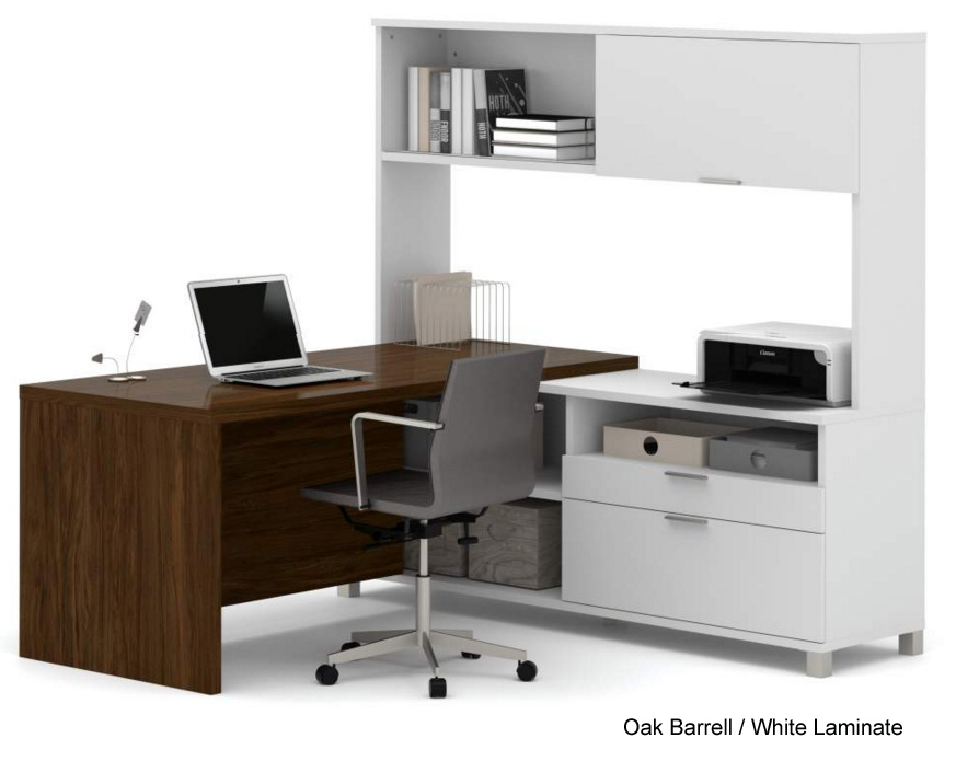 Pro Linear Open Office Modular Furniture   L Shaped Workstation W/ Hutch