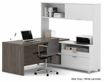 Pro Linear Open Office Modular Furniture - L-Shaped Workstation w/ Hutch