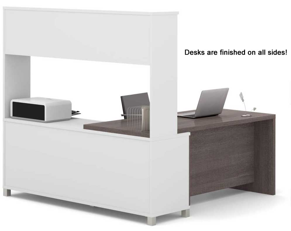linear open office modular furniture - l-shaped workstation w/ hutch