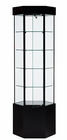 "78""H Hexagonal Tower Display Case with Pedestal"