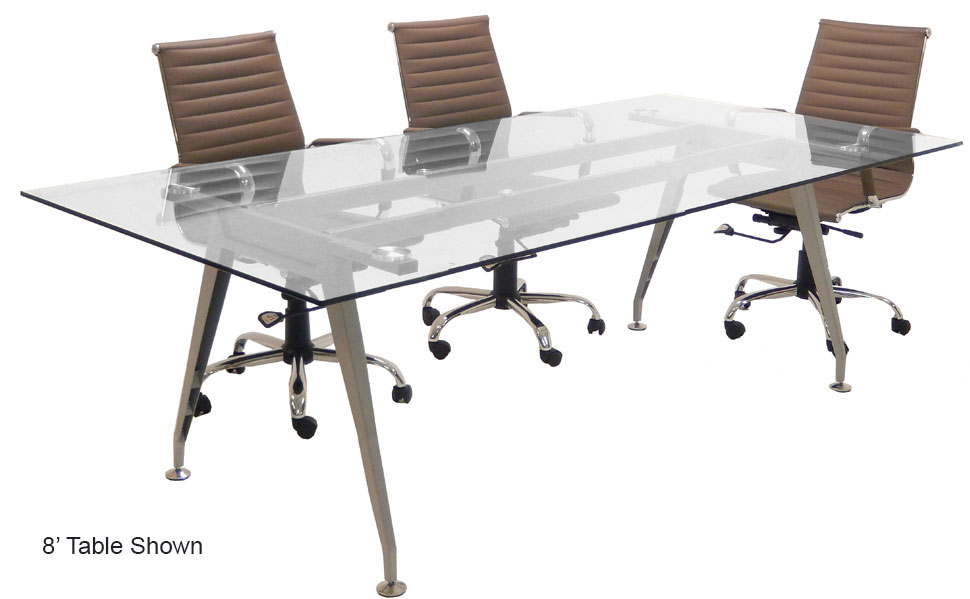 8u0027 Rectangular Glass Conference Table