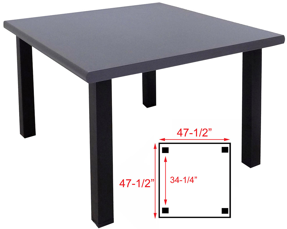 Weathered Gray Real Wood Veneer Tables In Seated Or Standing Height - Square meeting table