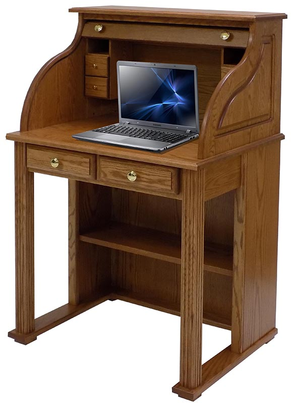 Solid Oak Roll Top Vintage Laptop Desk 29