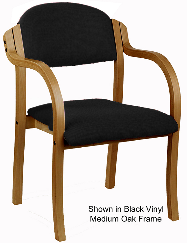 Stackable solid wood frame chair w arms