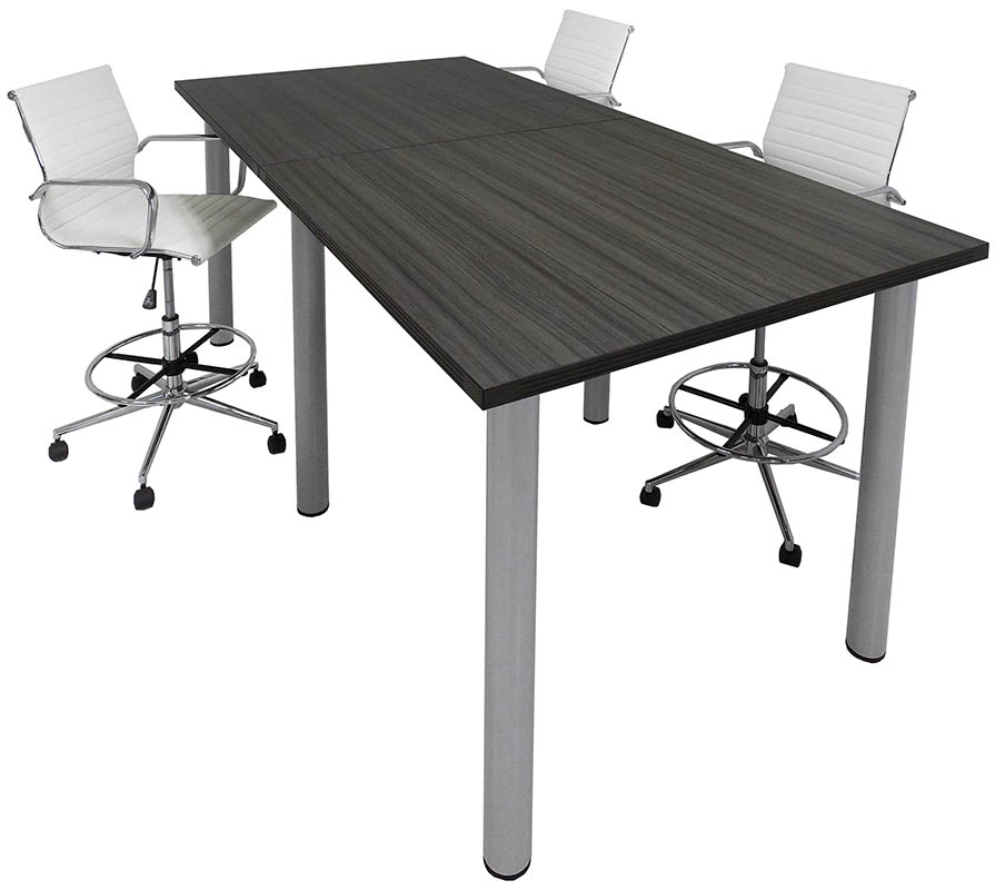 Standing Height Conference Tables WRound Post Legs In White Mocha - Round conference table for 8