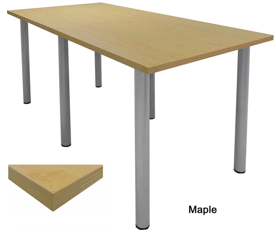 Standing Height Conference Tables WRound Post Legs In White Mocha - Standing height meeting table
