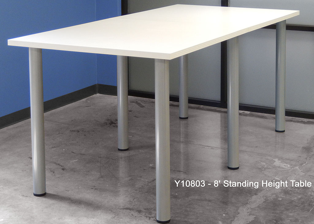 Superior Standing Height Conference Tables W/Round Post Legs In White, Mocha, Maple,  Black Or Charcoal Top   8u0027 ...