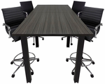 Standing Height Conference Tables w/Square Black Legs & White, Mocha, Maple, Black or Charcoal Top - 8' Length- See Other Sizes