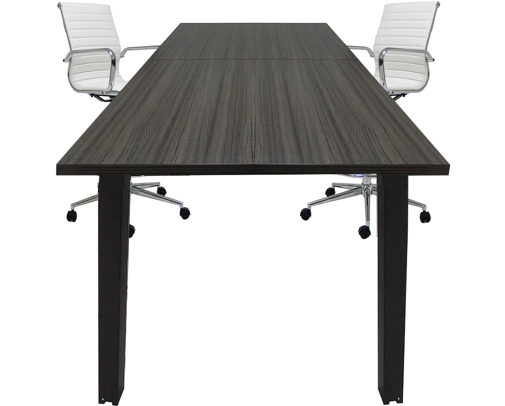 Standing Height Conference Tables WSquare Black Legs White Mocha - Standing height conference table