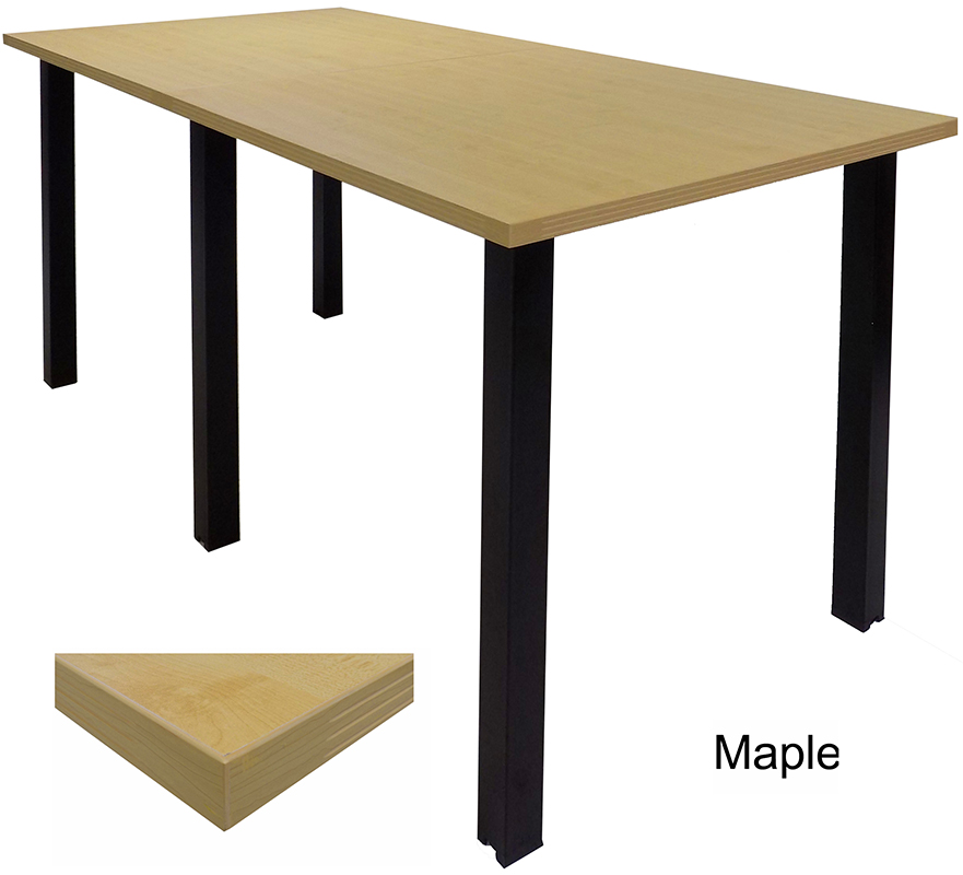 Standing Height Conference Tables WSquare Black Legs White Mocha - Conference room table height