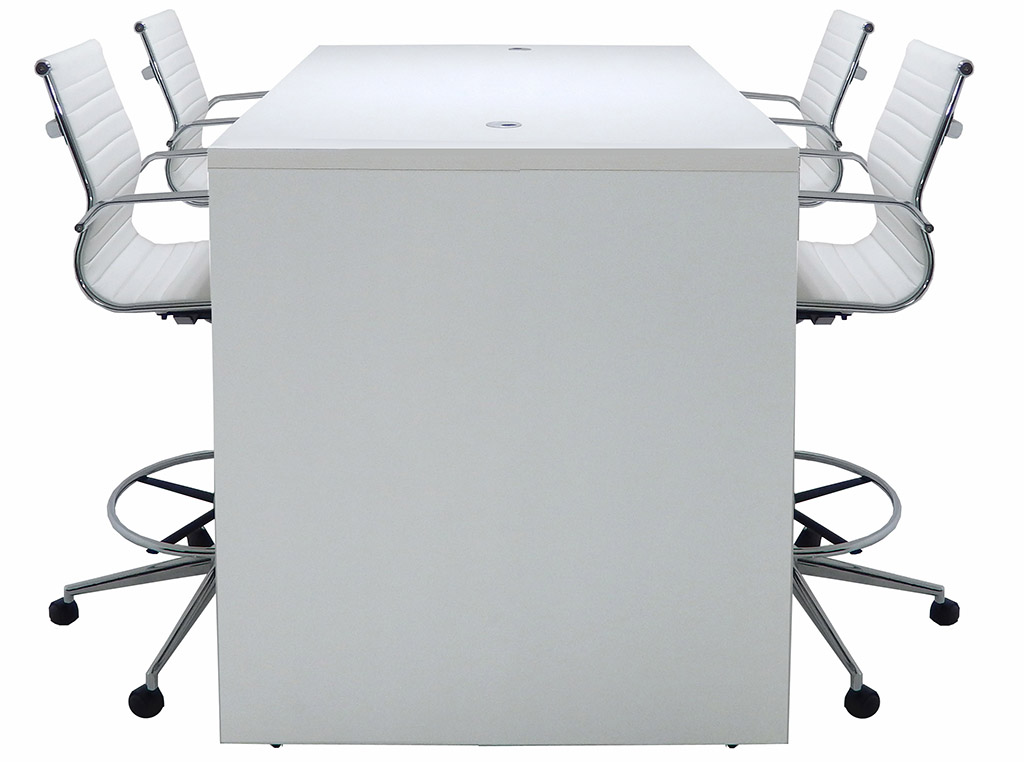Team Collaborative Standing Height Meeting Table In White - Standing height meeting table