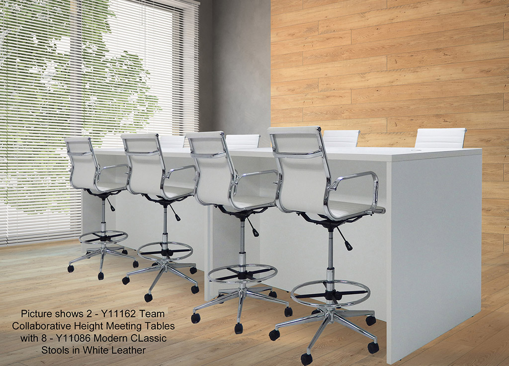 Team Collaborative Standing Height Meeting Table In White - Standing height conference table
