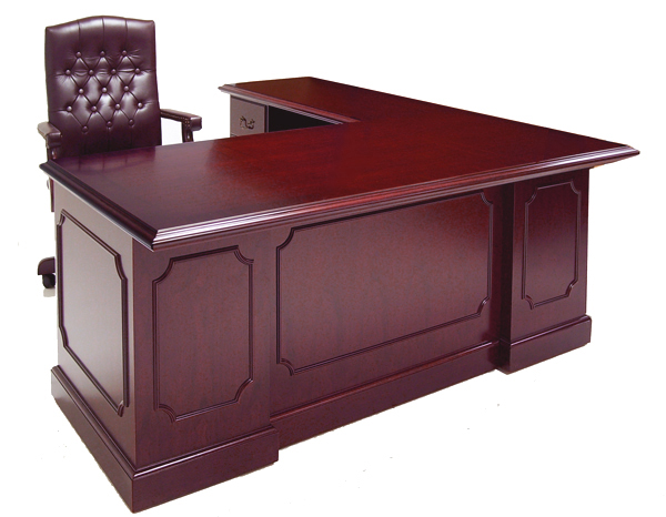 Traditional Dark Cherry Veneer L Shape Desk W Left Return
