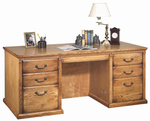 "Traditional Genuine Oak Furniture Series - 68-1/4""W Executive Desk"