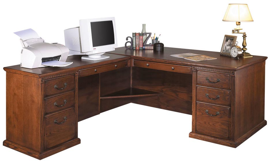 Traditional Oak Executive L Desk With Left Return