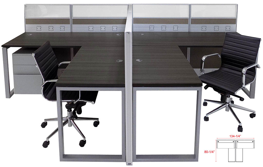 TrendSpaces Premium 2 Person L Shaped Cubicle