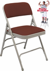 Triple Brace Fabric Padded Steel Folding Chair - 300 lb Capacity