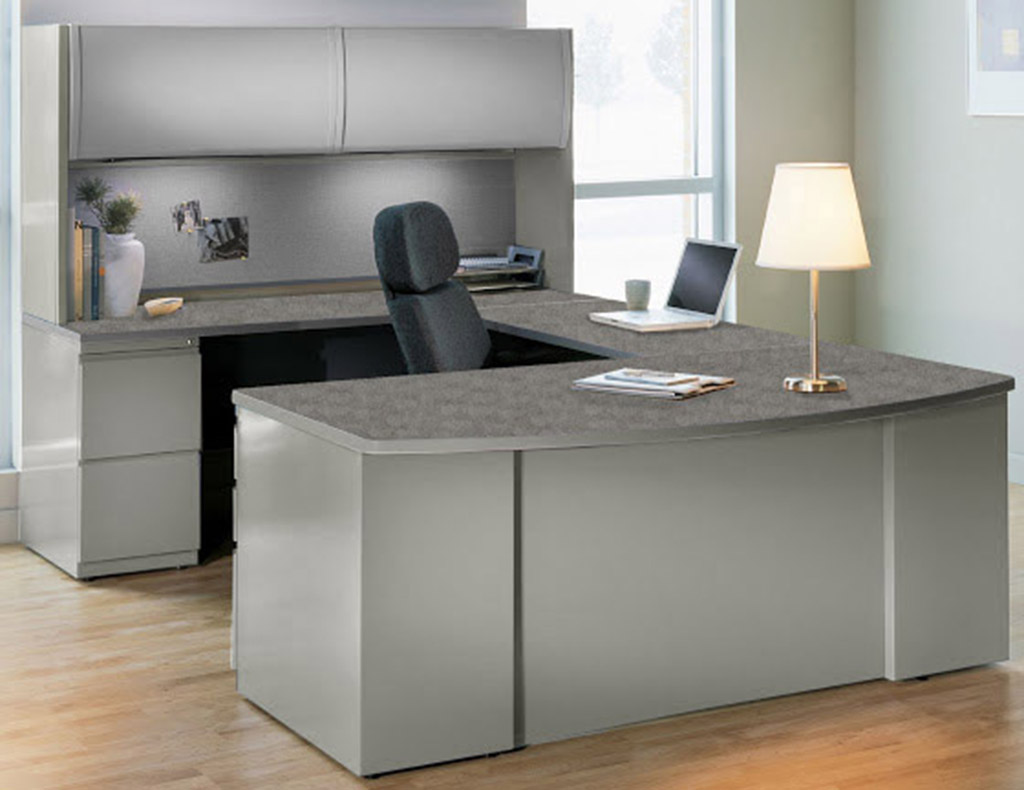 U Shaped Workstation W/ 2 Door Hutch ...