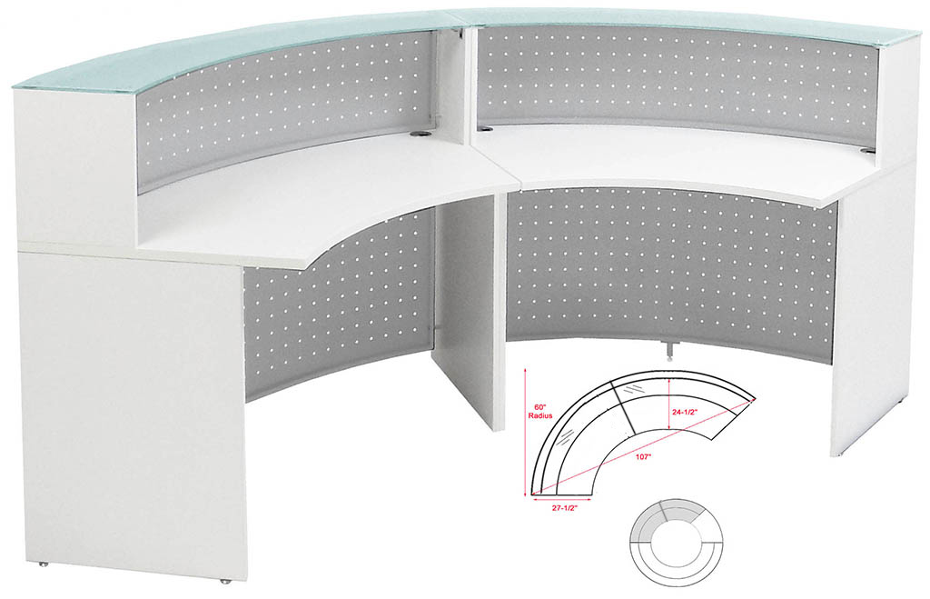White 120 Curved Glass Top Reception Desk