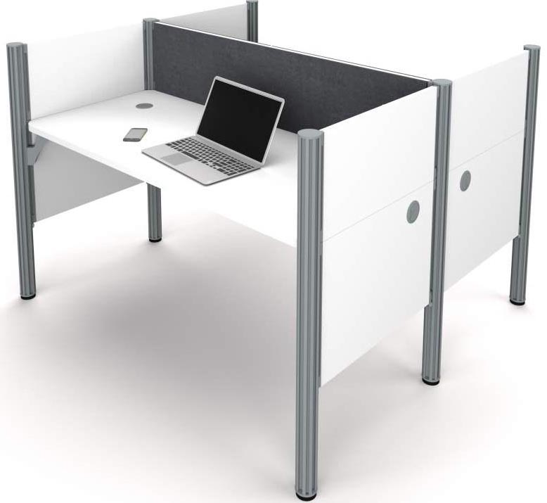 white 2person backtoback cubicle workstation