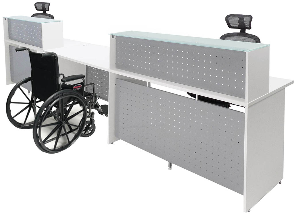 White 2 Person Glass Top Wheelchair Accessible