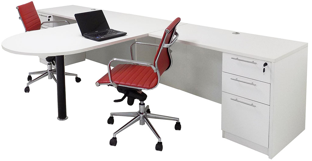 White 2 person shared office desk - Two person office desk ...