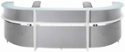 White 2-Person Wrap Around Glass Top Reception Desk