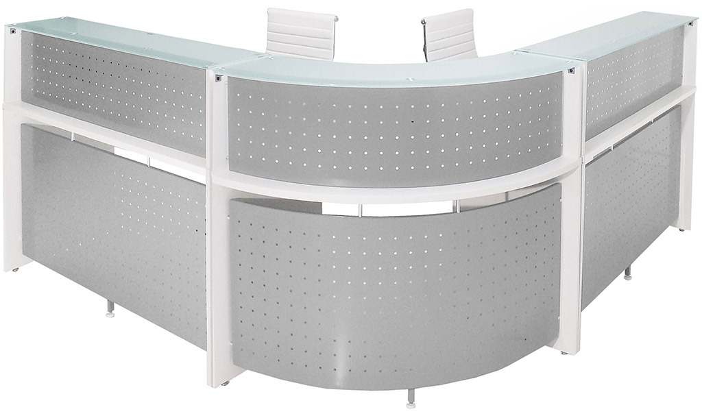 White Curved LShaped Glass Top Reception Desk