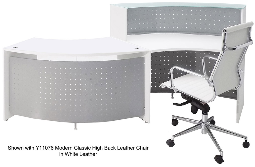 White Curved Wave Glass Top Ada Reception Desk