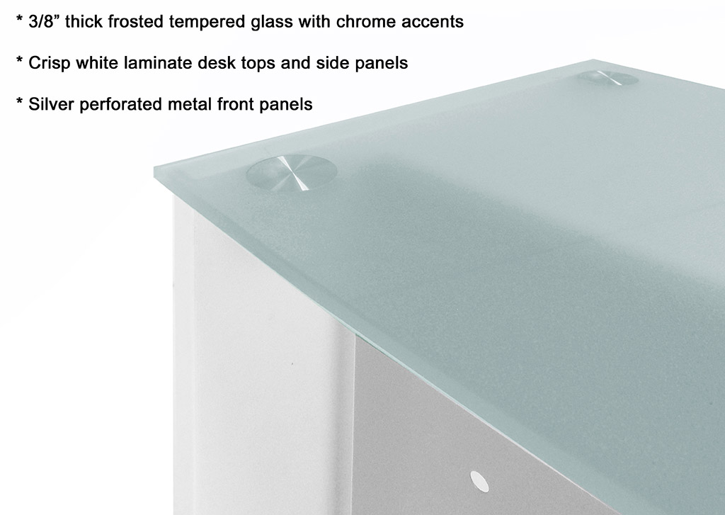 White Glass Top Wheelchair Accessible Reception Desk