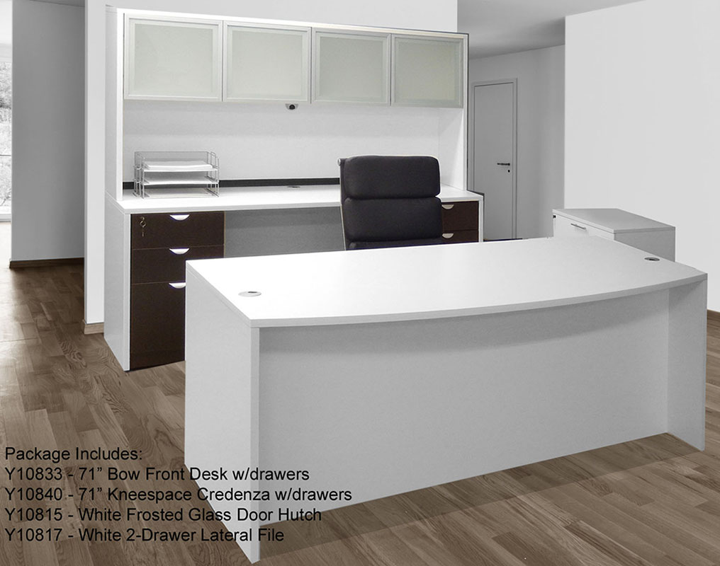 White woodgrain 4 piece office furniture package for White modern office furniture