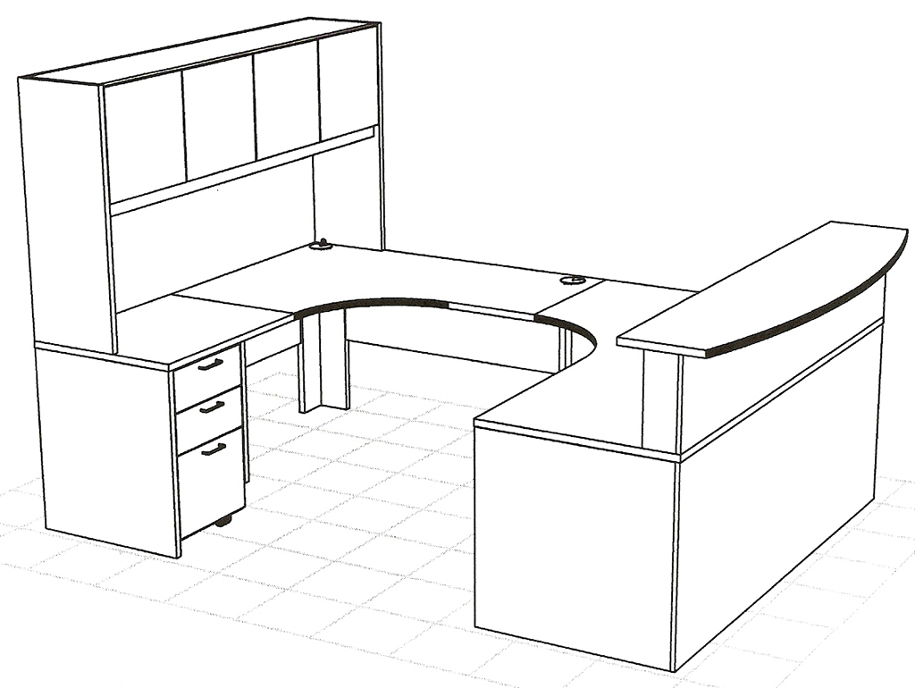 Reception desk dimensions standards cdc reception desk for Wrap around desk plans