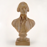 "Houdon 12"" Terra-Cotta Faux Finish Jefferson Bust"