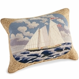 American Schooner Needlepoint Pillow