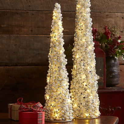 Bead & Pearl Lighted Tree (Small)