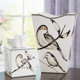 Bird Waste Basket & Tissue Box Holder