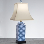 Blue and White Square Jar Lamp