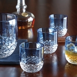 Blue Crystal Set of 4 Double Old Fashioned Glasses