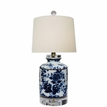 Blue & White Canister Lamp