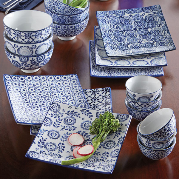 & Blue u0026 White Square Plates